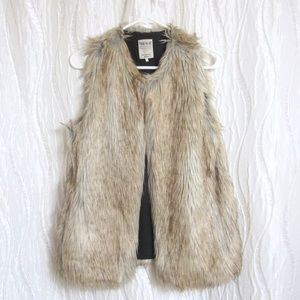 Zara Trafulic Vest Faux Fur Tan Light Brown Black